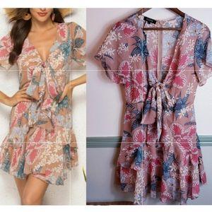 Vutti Floral Chiffon Flirty Dress NWT Large